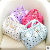 Wholesale Cheap MCM Designer Boston Bag PU Leather Red Light Blue White Purple New Arrival B2