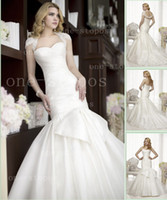Reference Images Sweetheart Satin Hot Sexy Mermaid Glamorous Sweetheart Satin Pleat Skirt Wedding Dresses With Bolero Lace Jacket D1494