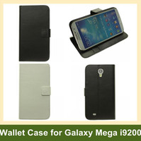 Leather For Samsung For Christmas Wholesale 60pcs X PU Leather Wallet Case for Galaxy Mega 6.3 Flip Cover Case for Samsung Galaxy Mega 6.3 i9200 DHL EMS Free Shipping