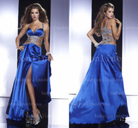 Wholesale 2014 Sexy Pageant Dresses Halter Royal Blue Silk Satin Rhinestone Beaded Backless Floor Length Prom Gown P14448