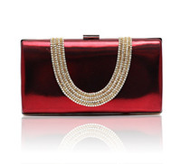 Clutch rhinestone purses - Wine red Temperament Top Grade Women s Diamond Rhinestone Velvet clutch bags handbag purse evening bag banquet Bags