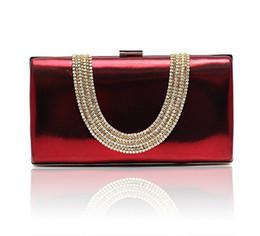 Wholesale Wine red Temperament Top Grade Women s Diamond Rhinestone Velvet clutch bags handbag purse evening bag banquet Bags