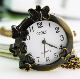 Fashion Gift Pocket Watches Bronze Color Colock With Necklace Butterflies Watch Necklace Buckle DHL Free Shipping