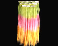 Wholesale 4pcs Hair Human Extension Clip In Synthetic Ombre Dip Dyed Hippie Hair on Size inch You Pick Color