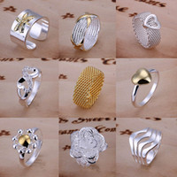 Wholesale Vogue Jewelry Mixed order New Design silver Fashion Rings Best Chirstmas Gift