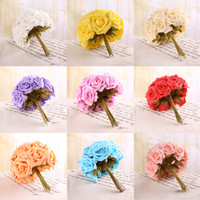 Wholesale 12 Head Real Touch Latex Wedding Bridal Bridesmaid Roses Flower color Pick