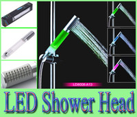 Cheap Romantic RGB LED shower temperature control and sense shower shower shower rod type turbocharged hand-held A13