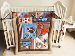 Wholesale New Embroidered Baseball Sports Pattern Boby Baby Cot Crib Bedding Set items includes Quilt Bumper Sheet Skirt