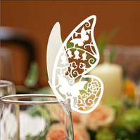Wholesale 120pcs Laser Cut Butterfly Place Card Escort Card Wine Glass Card Wedding Party Decoration