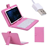 Wholesale USB QWERTY Keyboard Leather Case Cover Stand For Galaxy Tab quot P3100 For Nexus For Kindle Fire HD inch Tablet PC Pink Red White Blue