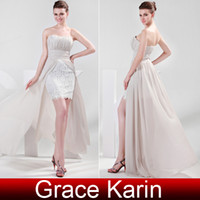 Grace Karin Hot Selling Sexy Strapless Ruched Bodice Hi Lo E...