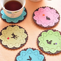 carved animals - Mats Pads Coaster Cartoon Carving Lace coaster Animal lace coaster Silicone coaster hot pad plate cup placemat