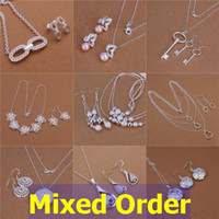 Wholesale Mixed Order Sterling Silver Plated Mutli Styles Love Key Flowers Necklace Earrings Jewelry Set SET112