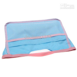 Wholesale Portable Mesh Cosmetic Bag with Several Pockets for Female Blue