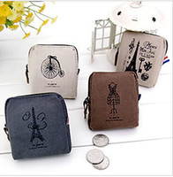 4colour american penny - Square Paris memories retro female Korean cute purse penny creative canvas bag Miss Han Ban tower bike racks