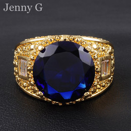 Size 9-13 Jenny G Jewelry Big 15ct Blue Sapphire Gemstone 18K Yellow Gold Filled Gem Ring for Men Nice Gift