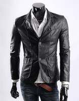 Men Leather_Like Bussiness / Work Casual Style 2013 New Men Korean Slim Leather Leisure Suit Short Men's Leather Jacket Men PU Leather Jacket XXXXL SF08-07