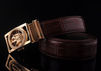 Wholesale Autumn Mens Gold Eagle Buckle Real Cow Leather Belt Fashion Designer Genuine Leather Hawk Belts For Men