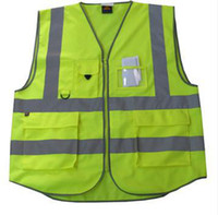Wholesale 5 pockets high visibility adult traffic reflective safety vest sanitation worker reflective vest fishing vest