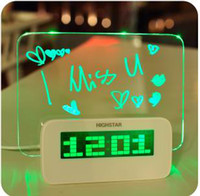 Wholesale 2013 New Arrival LED Fluorescent Message Board Digital Alarm Clock Calendar With Port USB Hub