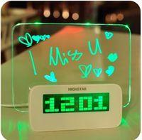 Wholesale 2013 New Arrival LED Fluorescent Message Board Digital Alarm Clock Calendar With Port USB Hub