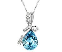 Bohemian cz gems - Buy cheap Unique Design Drop K gold plated CZ crystal gem stone rhinestones pendant Necklace MFN02