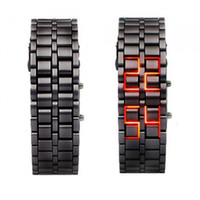 Wholesale Iron Faceless Red Binary LED Wrist Watch for Woman Black