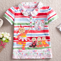 Summer cotton night shirt - New summer Baby girls in the night garden appliqued floral shirts t shirts cotton short sleeve trendy tops baby girl shirt