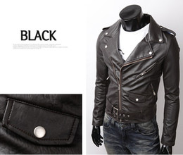 Wholesale Best Hot Men s Slim Zipper cuffs PU Leather motorcycle Leather Jackets Outerwear