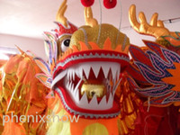 Wholesale 14m size FOr adult Chinese DRAGON DANCE ORIGINAL Dragon Gold plated Festival Celebration Costume