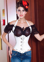 Wholesale Sexy Underbust Gothic Buckles Design Black or White Artificial PU Leather Halter Bustier Corset S M L XL XXL