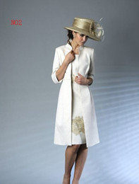 New ivory satin with gold lace knee-length mother of the bride dresses and jacket bolero