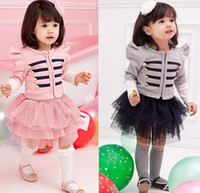 Wholesale 2013 Girls Clothing Baby Girl pc sets T shirt Skirt Kids Grey And Pink Striped Tutu Lace Suit Children High quality Cotton Suit