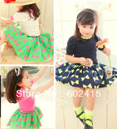 Wholesale 5set Children girl s summer girl child chiffon skirt set puff sleeve princess piece set necklace tz39