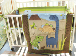 Wholesale New Embroidered Appliqued Dinos Dinosaur Boby Baby Cot Crib Bedding Sets items includes Quilt Bumper Fitted Sheet Skirt
