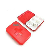 Pill Cases & Splitters China (Mainland)  (Free Shipping CPAM) 30PCS LOT Red Plastic 6 Compartment Grids Pill Case Pillbox Organizer H-134C