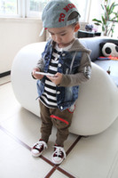 Spring / Autumn casual jacket - Korean wash denim montage pure cotton boys casual hoodies cardigan coat Year children hoody jacket Year kids denim coat QS273