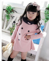 Spring / Autumn girls boutique clothes - Pink Dresses for Girl Lapel with Bowknot Design Long Sleeves Decorative Double Breastsed Girl Clothing Boutiques Hot Sale Discount D143