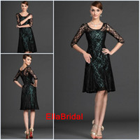 Wholesale Sexy Short Black Lace Knee Length Half Sleeve Scoop Beaded Mother of the Bride Dresses Formal Dress Gown