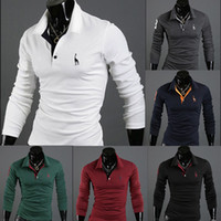 Wholesale 2014 Autumn New Polo Shirt For Men Fawn Embroidery Luxury Casual Slim Fit Stylish T Shirt With Long Sleeve Colors Size