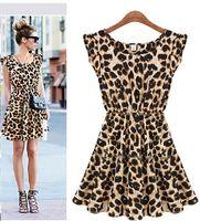 Wholesale Retail High quality Europe America women Leopard skirt slim waist leopard print one piece dress