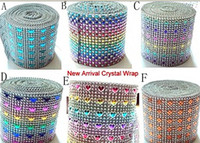Wholesale Diamond wrap for party backgroup Diamond Mesh Rhinestone Ribbon Crystal Wrap For Wedding Party Decoration Colorful Rows
