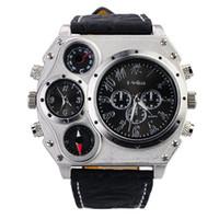 Luxury Men's Quartz-Battery oulm luxury PU Leather wrist watch Quartz sports Round Dial Big Case Three Sub Dial Decoration watches for men