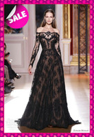 2013 Sexy zuhair murad Sheer Nude Sexy Long Sleeves Prom Dre...