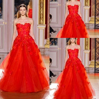 Wholesale Custom Made New Sexy Strapless Red Lace Flowers Organza Fabric Beaded Sequined Zipper Back Floor Length Prom Dresses ZH21
