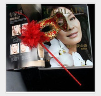 Wholesale Handheld Venetian Half Mask with flower random color