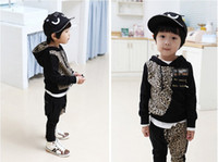 Wholesale 2 boys cotton leopard outfits kids hoodie trousers sets children fashion suits autumn clothing popular garment cool costume fxygmy