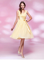 Wholesale new A line V neck Knee length Chiffon and Stretch Satin Bridesmaid Dress