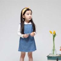 Spring / Autumn A-Line Knee-Length Baby Wear Blue Denim Dresses Kids Clothes Jumper Skirt Child Dress Fashion Casual Dresses Children Clothing Dress Short Girls Cute Dresses