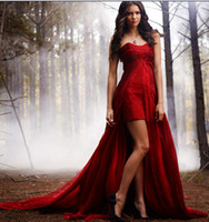 Wholesale 2014 Nina Dobrev vampire diaries Beaded Sweetheart Beaded Gothic Wine Red Chiffon Short Front Long Back Hi Lo Pageant Prom Evening Dresses